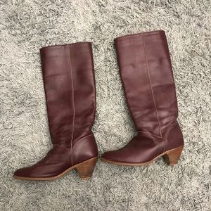 Vintage Wine Colored Frye Leather Boots, 7.5